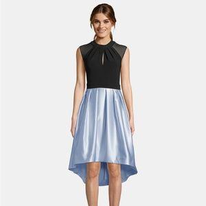 Betsy & Adam Cap-Sleeve Satin High-Low Dress